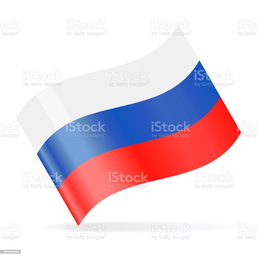 Russia Flag Vector Waving Icon vector art illustration