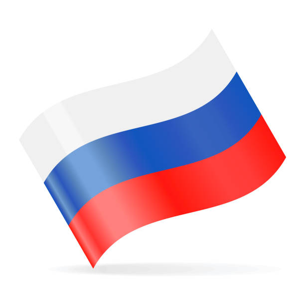 russia flag vector waving icon - russian flag stock illustrations, clip art, cartoons, & icons