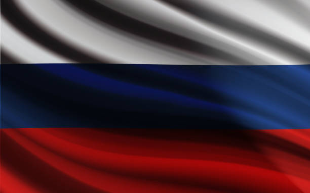 ilustraciones, imágenes clip art, dibujos animados e iconos de stock de rusia bandera ondeando vector diseño efecto realista - rusia