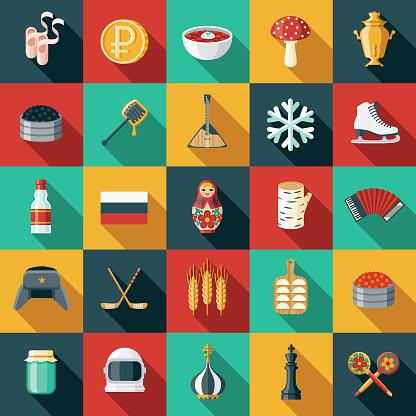 Russia Flat Design Icon Set