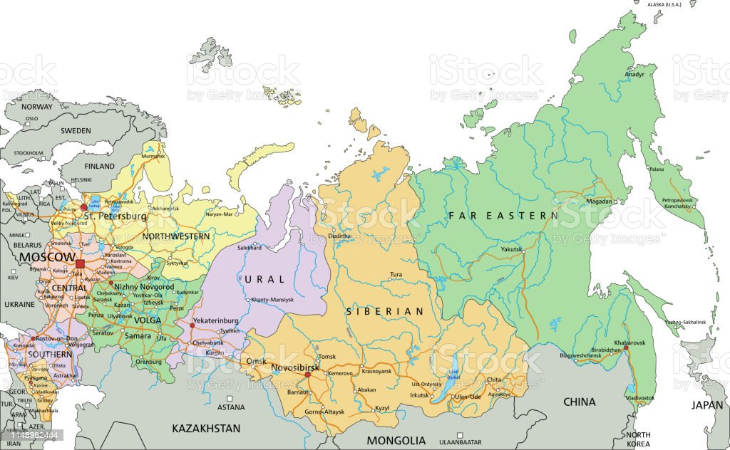Russia Highly Detailed Editable Political Map With Labeling Stock Illustration Download Image Now Istock