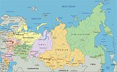 Russia - Highly detailed editable political map with labeling.