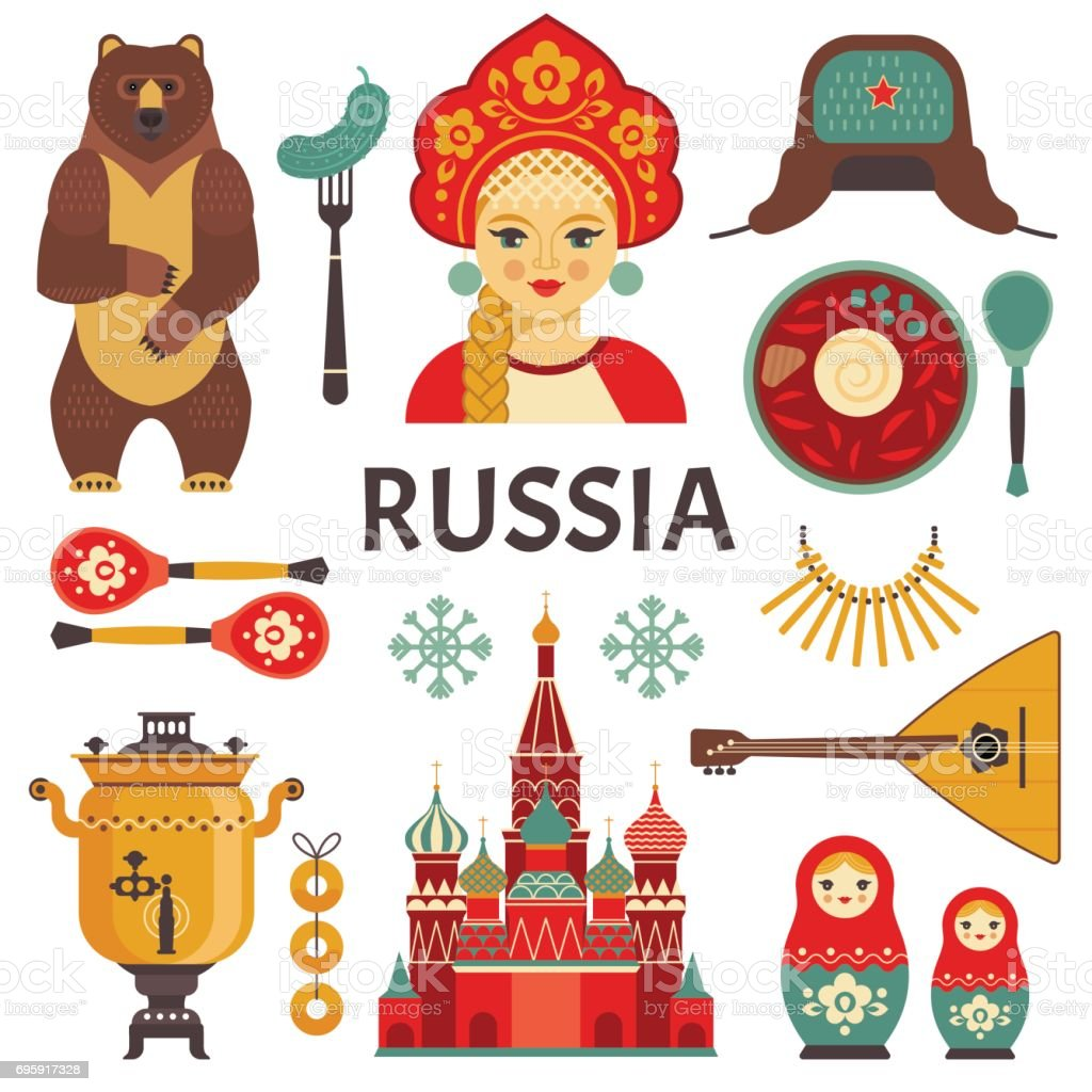 Russia icons set. vector art illustration