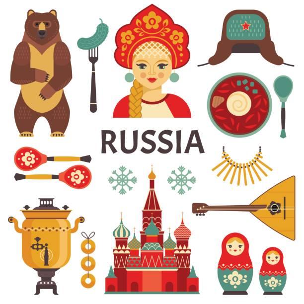 ilustraciones, imágenes clip art, dibujos animados e iconos de stock de conjunto de iconos de rusia. - rusia