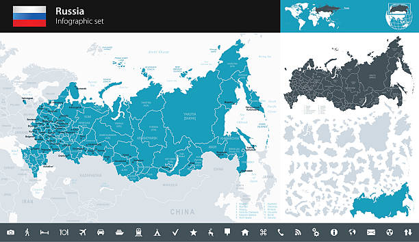 Russia - Infographic map - illustration Vector maps of Russia with variable specification and icons kamchatka peninsula stock illustrations