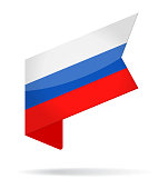 Russia - Isometric Label Flag Vector Glossy Icon