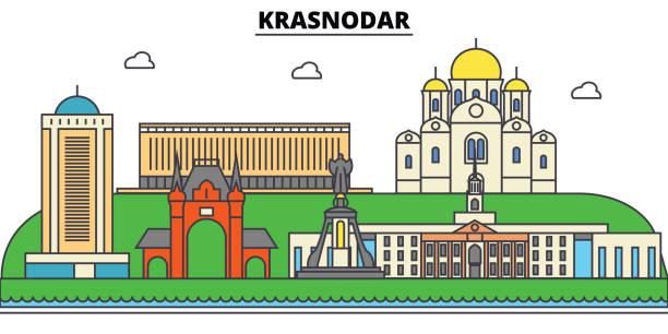 ロシア、kransodar。街のスカイライン、アーキテクチャ、建物、通り、シルエット、風景、パノラマ、ランドマーク。編集可能なストローク。フラットなデザイン ラインのベクトル図の概念。孤立したアイコン セット - クラスノダール市点のイラスト素材/クリップアート素材/マンガ素材/アイコン素材