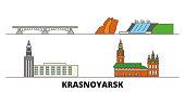 Russia, Krasnoyarsk flat landmarks vector illustration. Russia, Krasnoyarsk line city with famous travel sights, skyline, design.