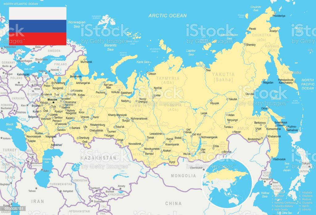 Russia Map And Flag Illustration Stock Vector Art More Images of