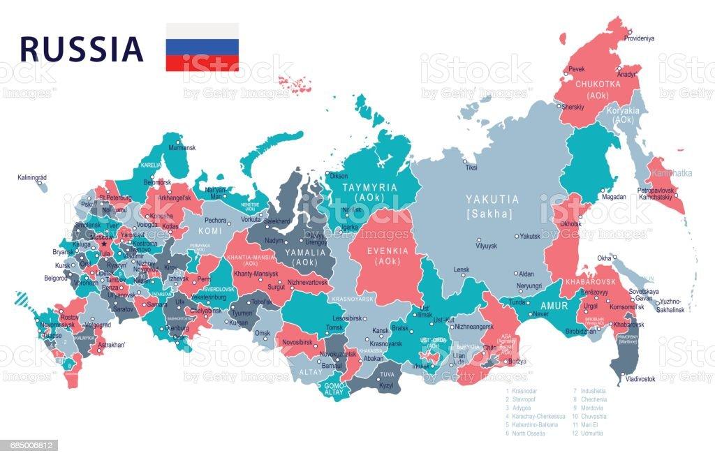 Russland Karte Und Flagge Illustration Stock Vektor Art und mehr ...