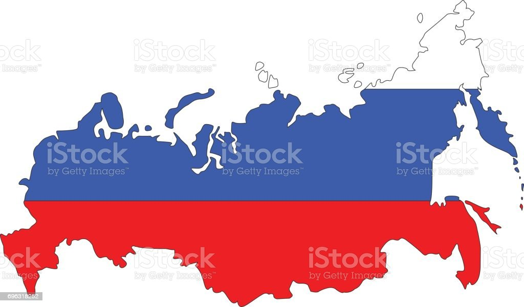 Russia map and flag vector art illustration