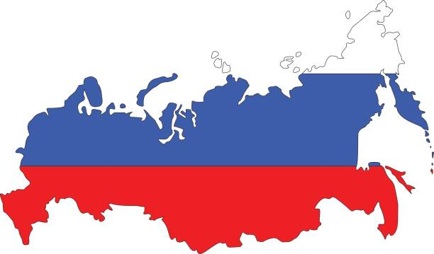 russia map and flag - russian flag stock illustrations, clip art, cartoons, & icons