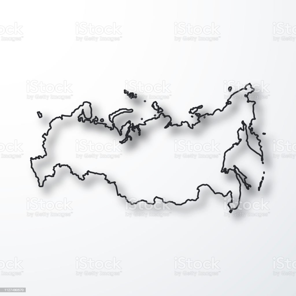 Picture of: Russia Map Black Outline With Shadow On White Background Stock Illustration Download Image Now Istock