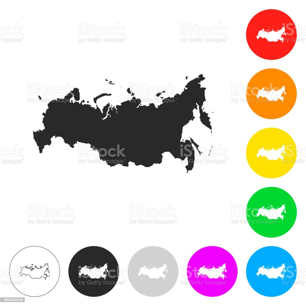 Russia map - Flat icons on different color buttons vector art illustration