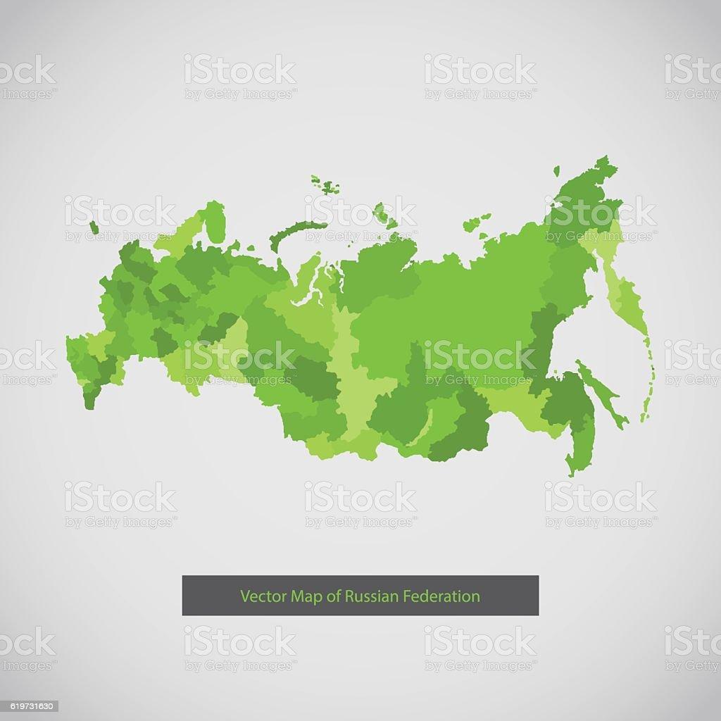 Russia map. Green color. vector art illustration