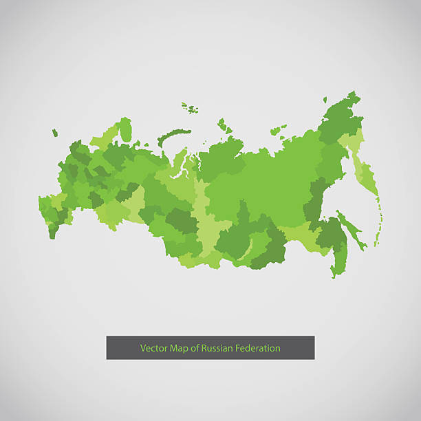 Russia map. Green color. vector art illustration