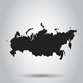 Russia map icon. Flat vector illustration. Russia sign symbol with shadow on white background.