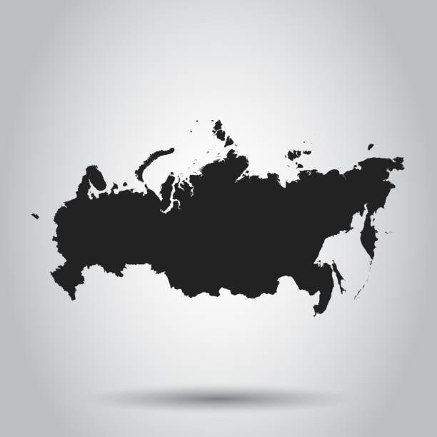 ilustraciones, imágenes clip art, dibujos animados e iconos de stock de icono de mapa de rusia. ilustración de vector plano. símbolo del signo de rusia con sombra sobre fondo blanco. - rusia