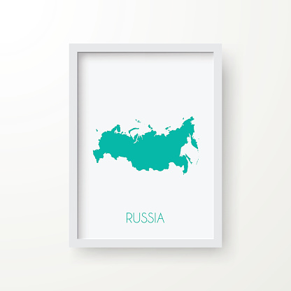 Russia Map in Frame on White Background