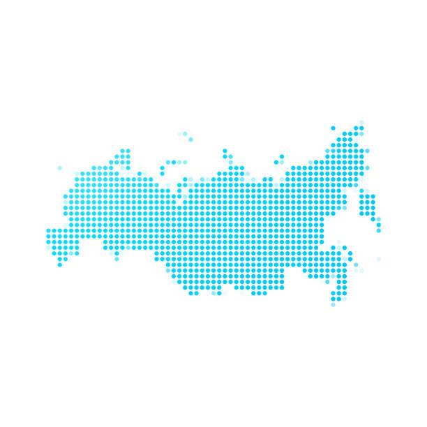 ilustraciones, imágenes clip art, dibujos animados e iconos de stock de mapa de rusia de puntos azules sobre fondo blanco - rusia