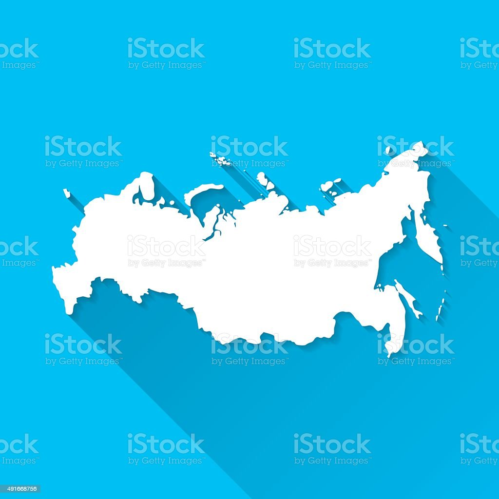 Russia Map on Blue Background, Long Shadow, Flat Design