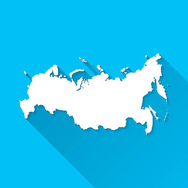 ilustraciones, imágenes clip art, dibujos animados e iconos de stock de rusia mapa sobre fondo azul, larga sombra, diseño plano - rusia