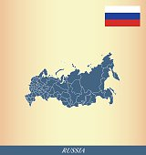 Russia map outline vector and Russia flag vector outline