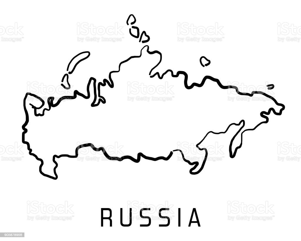 Russia Map Outline Stock Vector Art More Images Of Blank 905878956