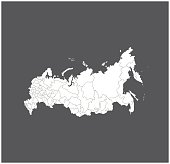 Russia map outline vector in gray background
