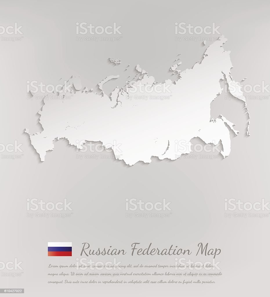 Russia Map Russian Federation 3d Vector Map With Smooth Shadow ...