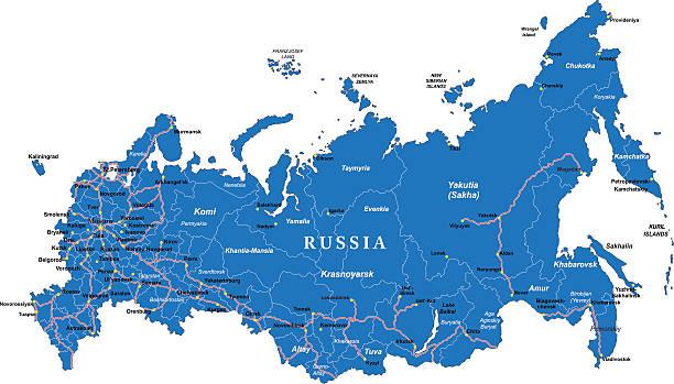 stockillustraties, clipart, cartoons en iconen met russia map - siberië