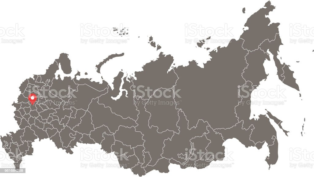 Russia Map Vector Outline With Borders Of Federal Subjects Or