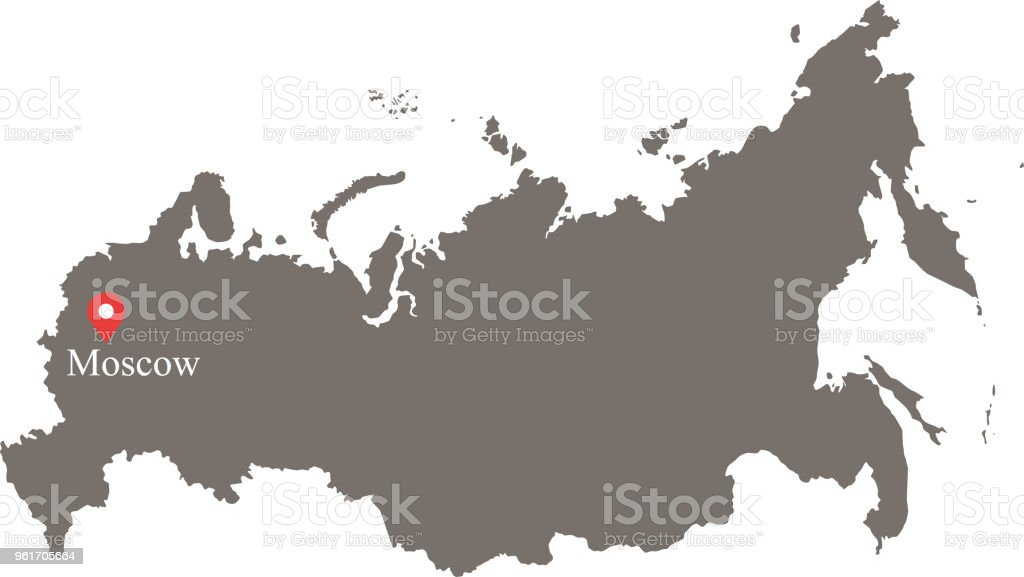 Russia Map Vector Outline With Capital City Moscow Location And Name