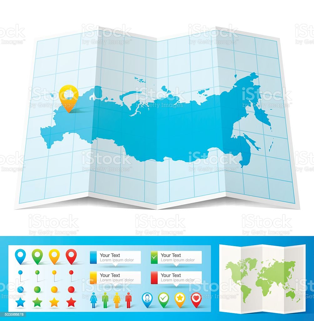 Russia Map With Location Pins Isolated On White Background Stock - Russia location