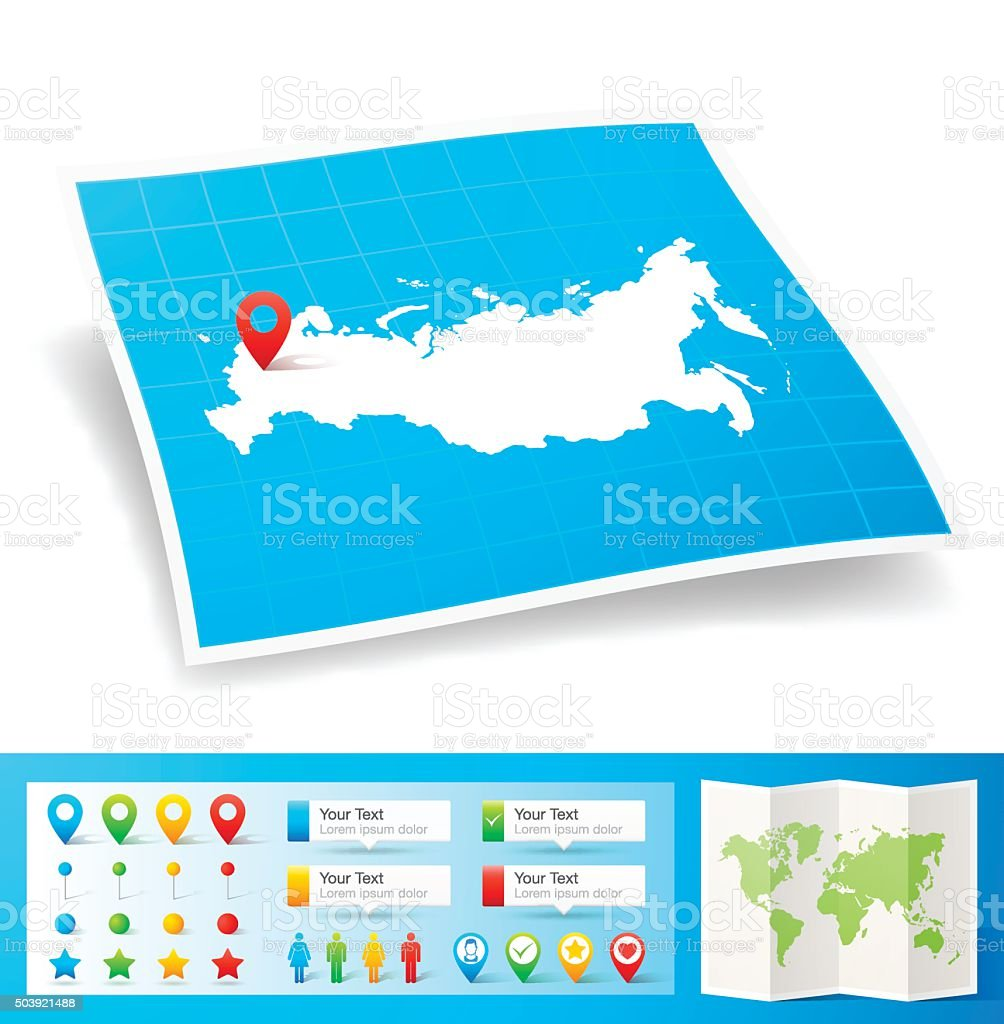 Russia Map with location pins isolated on white Background vector art illustration