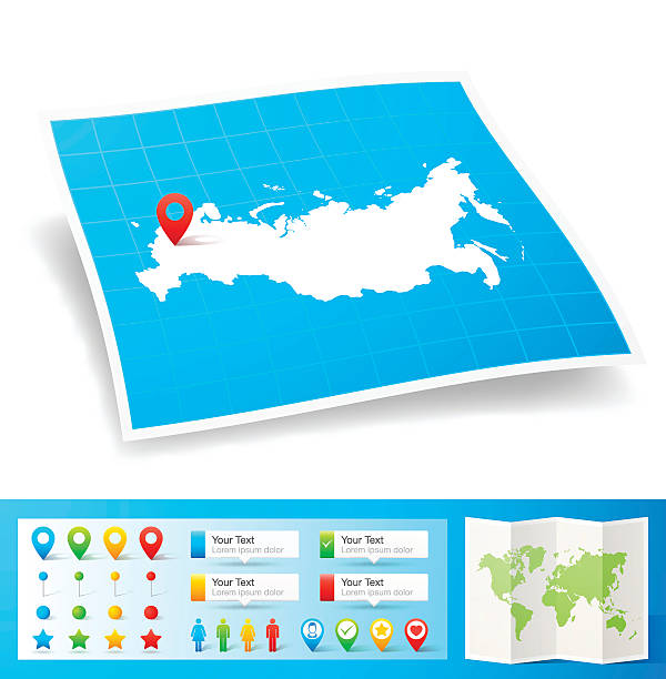 Russia Map with location pins isolated on white Background Map of Russia with design elements, isolated on white background. country geographic area stock illustrations