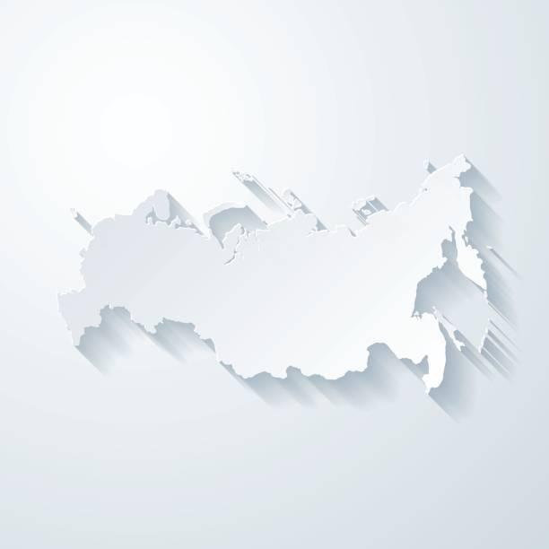 ilustraciones, imágenes clip art, dibujos animados e iconos de stock de mapa de rusia con el papel cortado efecto sobre fondo blanco - rusia