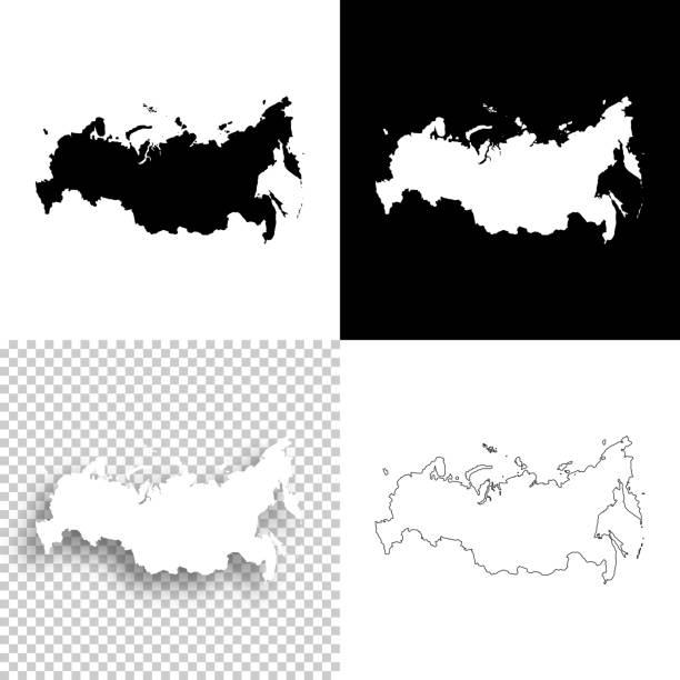 ilustraciones, imágenes clip art, dibujos animados e iconos de stock de mapas de rusia para el diseño - en blanco, blancos y negros fondos - rusia