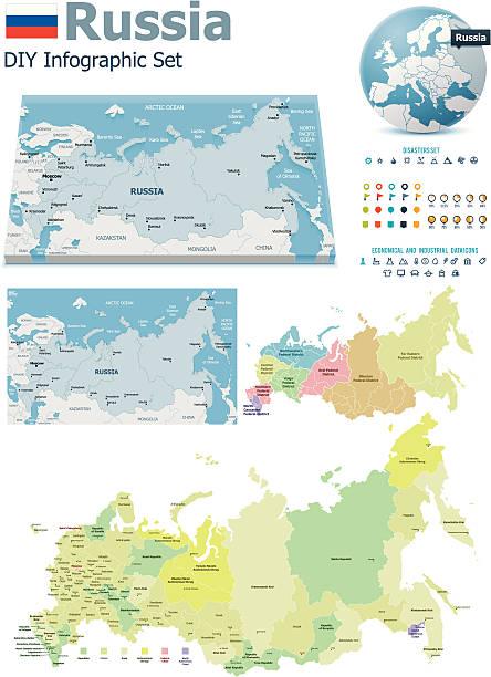 russland karten mit markern - schriftsymbol stock-grafiken, -clipart, -cartoons und -symbole