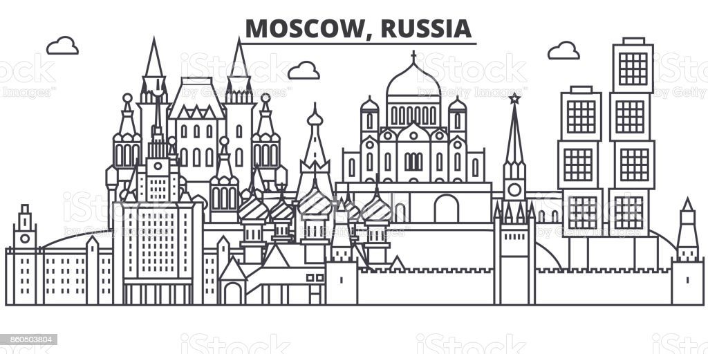 Russia, Moscow architecture line skyline illustration. Linear vector cityscape with famous landmarks, city sights, design icons. Landscape wtih editable strokes vector art illustration