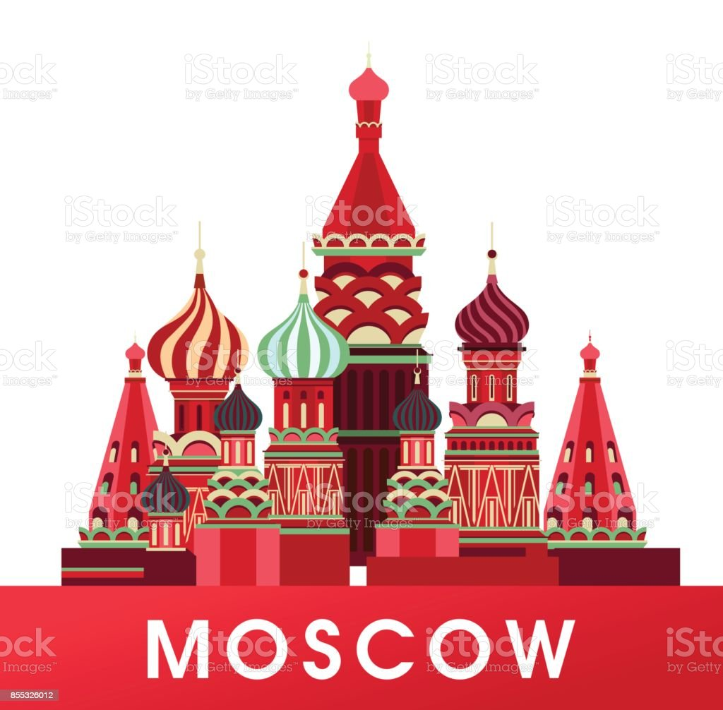 Russia Moscow poster vector art illustration