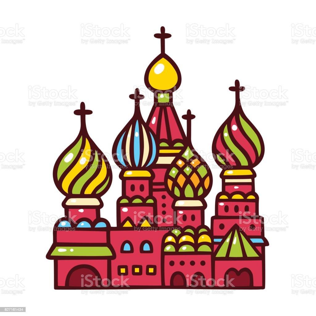 Russland, Moskauer Basilius-Kathedrale. – Vektorgrafik