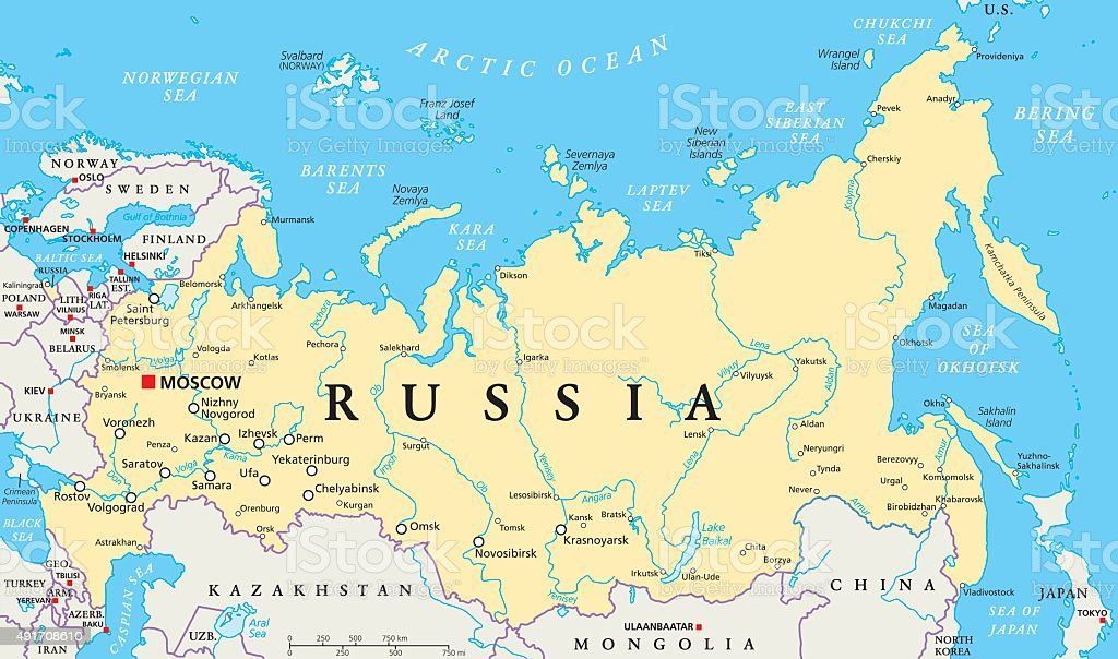 Russia Political Map stock vector art 491708610 iStock