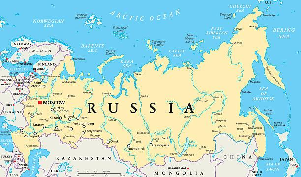 ilustraciones, imágenes clip art, dibujos animados e iconos de stock de mapa político de rusia - rusia
