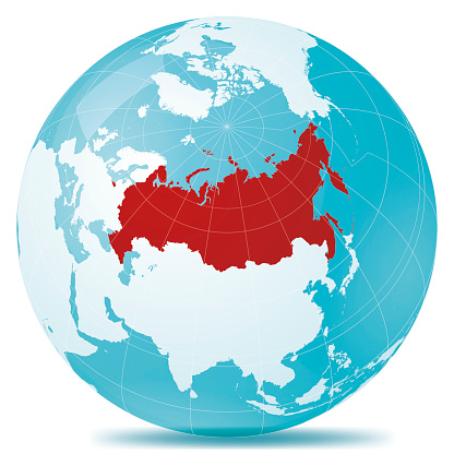 Russia Red Highlight Planet Earth Blue White