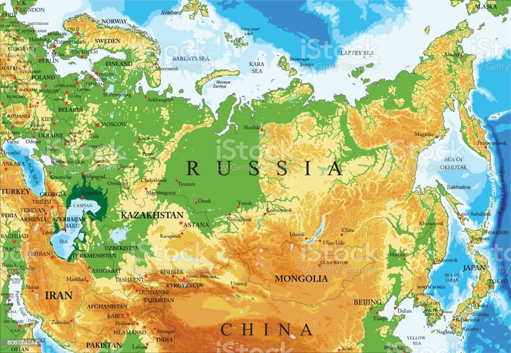 Russia Relief Map Stock Illustration Download Image Now Istock
