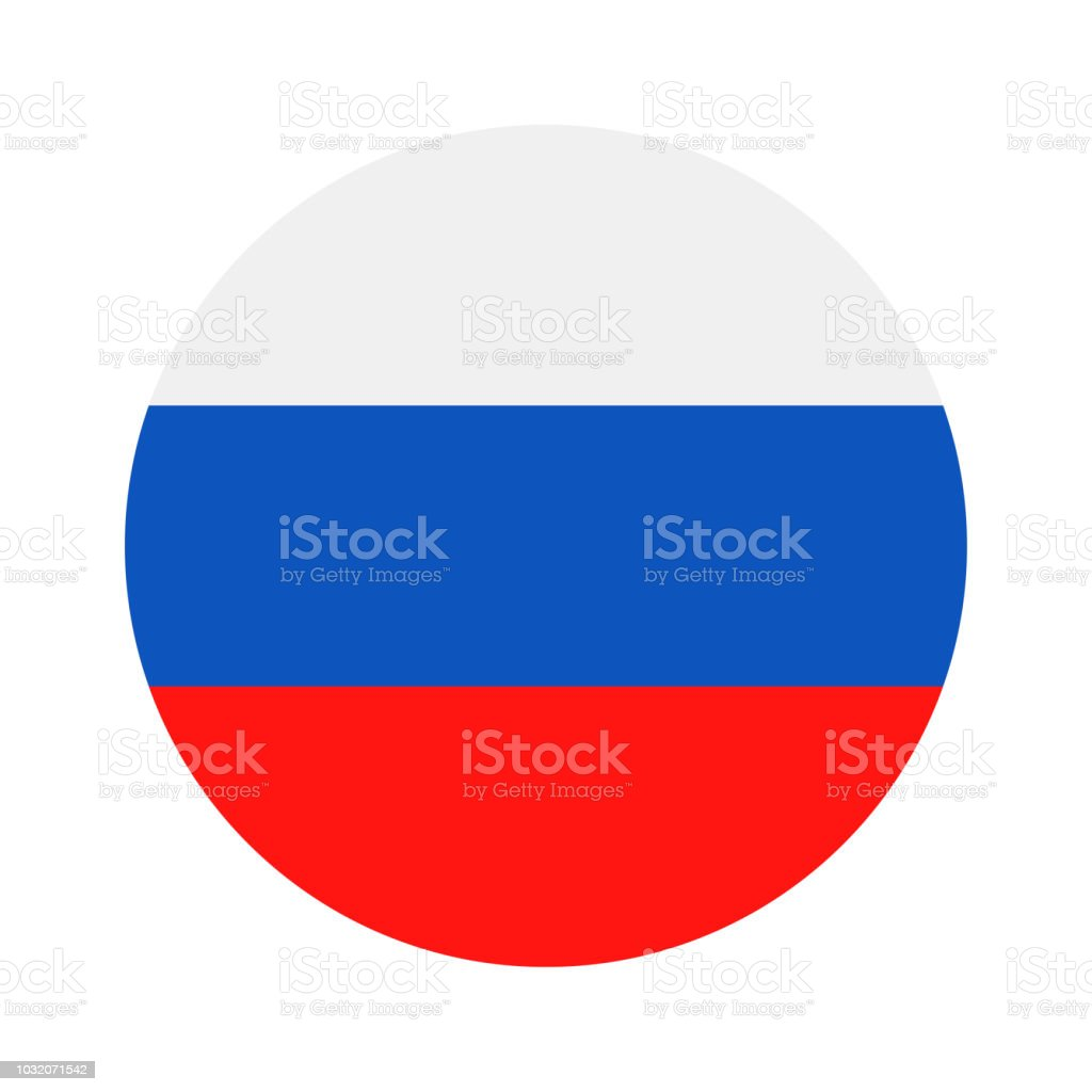 Russia - Round Flag Vector Flat Icon vector art illustration