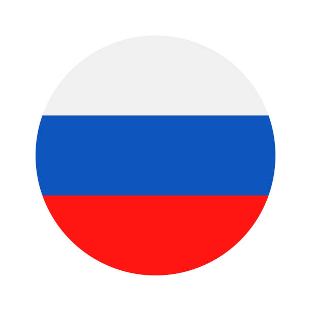 russia - round flag vector flat icon - russian flag stock illustrations, clip art, cartoons, & icons