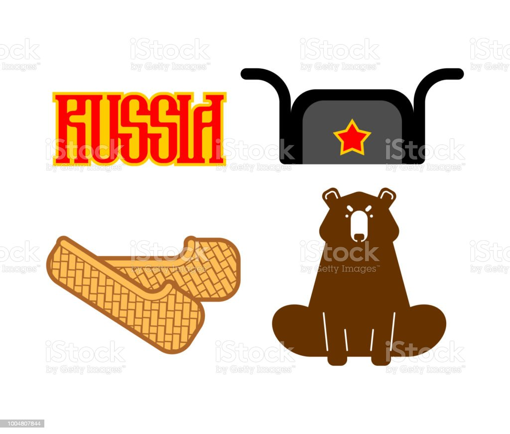 Russia Set Sign Icon Bast Shoes And Bear Ushanka And Red Star