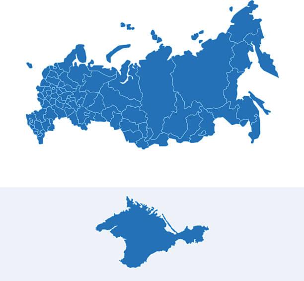 illustrazioni stock, clip art, cartoni animati e icone di tendenza di russia semplice mappa blu su sfondo bianco - russia